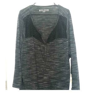 Penningtons Black & Grey 3/4 sleeve with lace